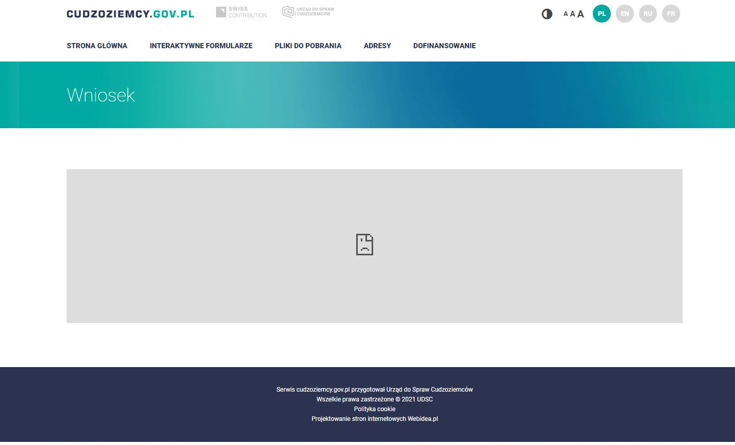 Nie działają interaktywne wnioski znajdujące się na stronie cudzoziemcy.gov.pl